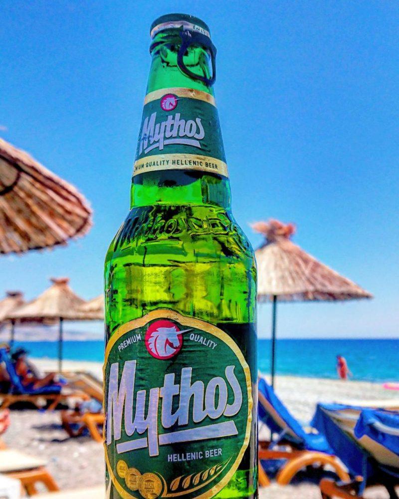 Mythos beer on the beach
